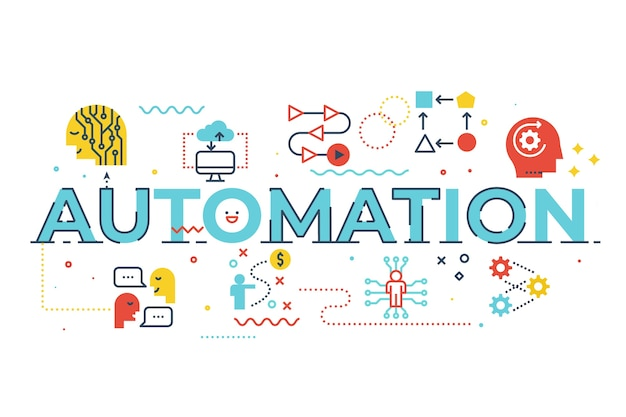 Illustration der automatisierungswortbeschriftung
