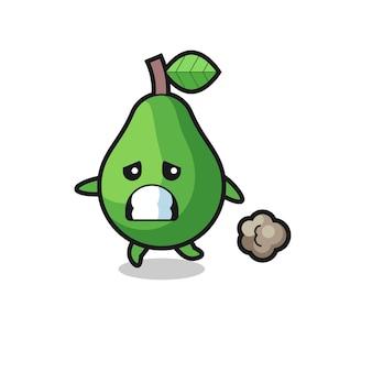 Illustration der avocado, die in angst läuft, niedliches design für t-shirt, aufkleber, logo-element