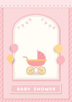 Illustration der babypartykarte mit kinderwagen auf rosa hintergrund.