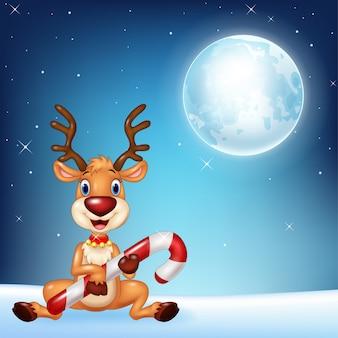 Illustration der babyrotwild, die weihnachtssüßigkeit halten