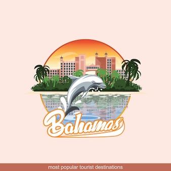Illustration der bahamas mit einem spielenden delphin und hotels