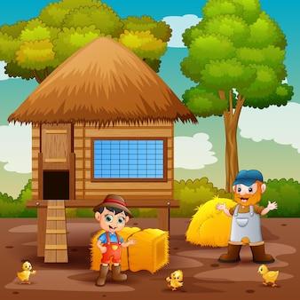 Illustration der bauern und des hühnerstalles in der farm