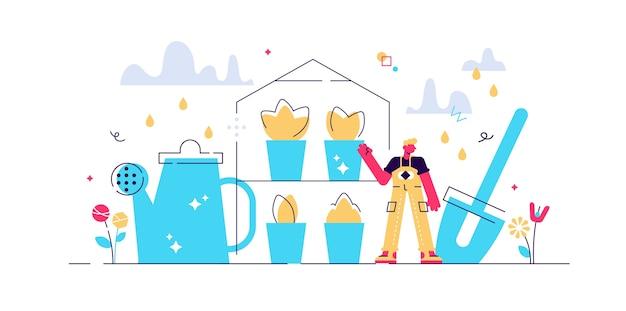 Illustration der baumschule. t mini-konzept für professionelle gartenarbeiter.
