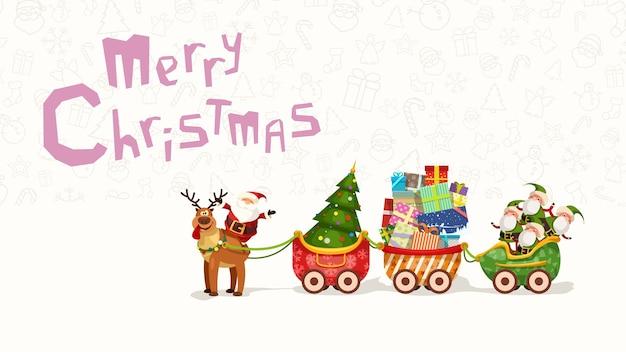Illustration der begrüßung des weihnachtsmanns, der auf rentier mit langem schlitten voller geschenke sitzt