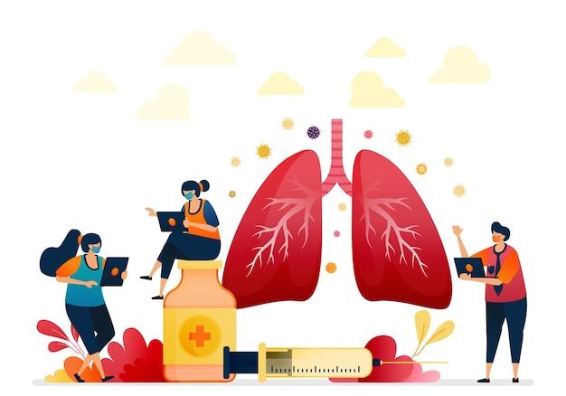 Illustration der behandlung für gesundheit lungenerkrankung. medikamente und injektionen für die lungenchirurgie
