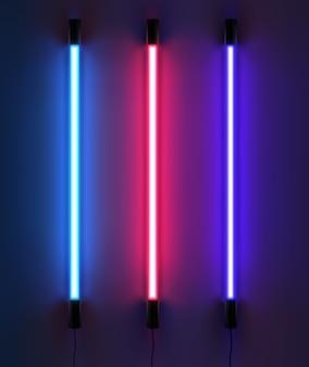 Illustration der beleuchtung von neonröhren in verschiedenen farben. auf dunklem hintergrund