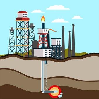 Illustration der benzin-bergbaustation, industrielle pumpe und abgeschnittene seitenansicht des gasturms.
