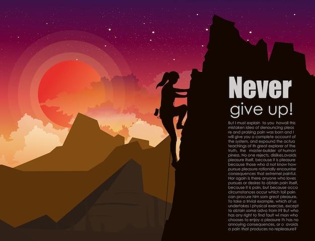 Illustration der bergsteigerfrau auf den bergen rocken am sonnenuntergangshimmel mit sternen und wolkenhintergrund in. motivationskonzept im flachen stil mit platz für text.