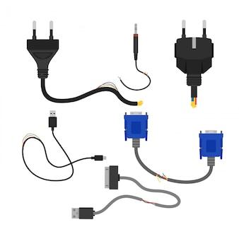 Illustration der beschädigten sammlung gebrochener elektrokabel auf weißem hintergrund. kabelschnitt, vga und usb