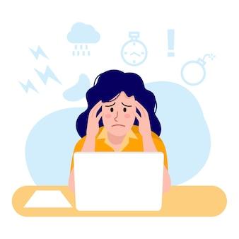 Illustration der beschäftigten frau, die am computer arbeitet,