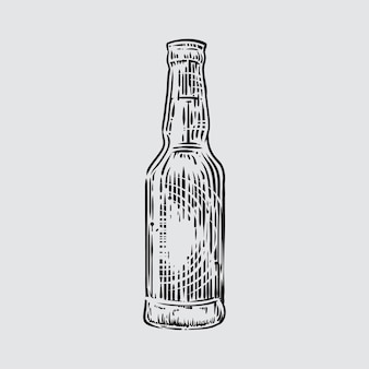 Illustration der bierflasche in gravierter art