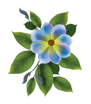 Illustration der blauen Blume mit Blättern. Vergiss mich nicht, Knospe, Zweig. Blumenkonzept.
