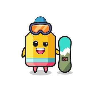 Illustration der bleistiftfigur mit snowboard-stil, süßes design für t-shirt, aufkleber, logo-element