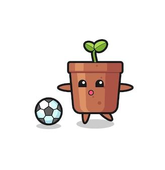 Illustration der blumentopfkarikatur spielt fußball, niedliches design für t-shirt, aufkleber, logo-element