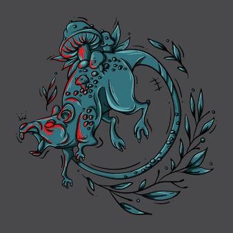 Illustration der bösen ratte, die mit pilzen überwachsen ist