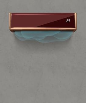 Illustration der braunen modernen klimaanlage an der grauen betonwand des dachbodens mit realistischem schatten