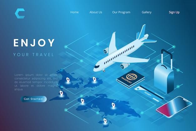 Illustration der buchung von flugtickets online, illustration von flügen für reisen und zeit für urlaub im isometrischen 3d-illustrationsstil verbringen