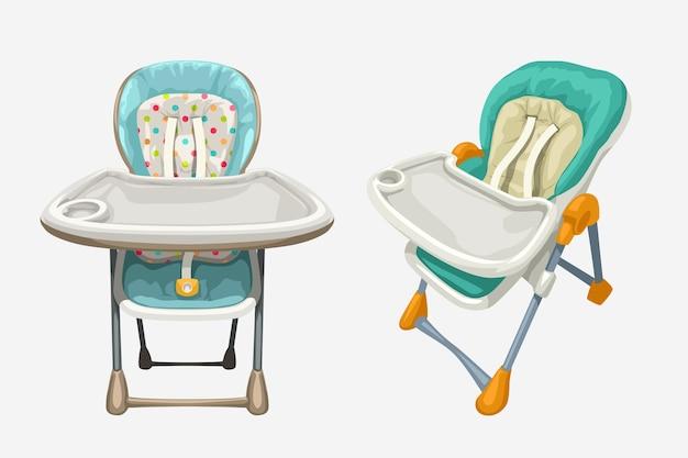 Illustration der bunten babyhochstühle, die auf weißem hintergrund lokalisiert werden
