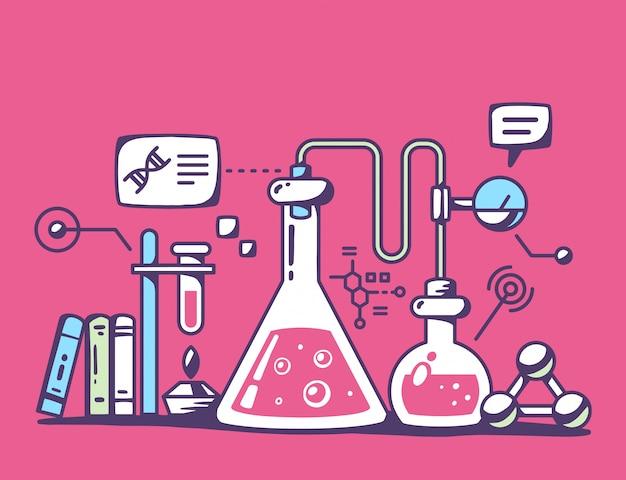Illustration der bunten chemischen laborflaschen auf rotem hintergrund.