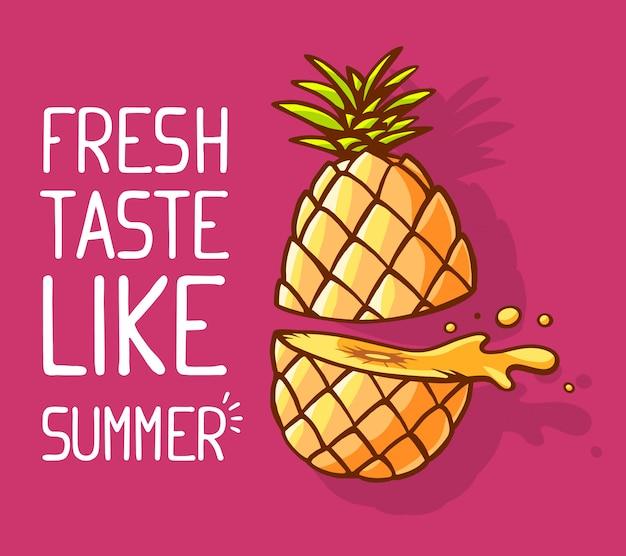 Illustration der bunten gelben ananas halbiert mit weißem text auf rosa hintergrund.