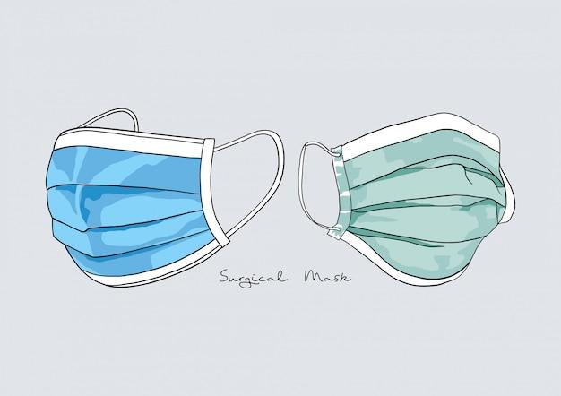 Illustration der chirurgischen maske / gesichtsmaske / medizinischen maske