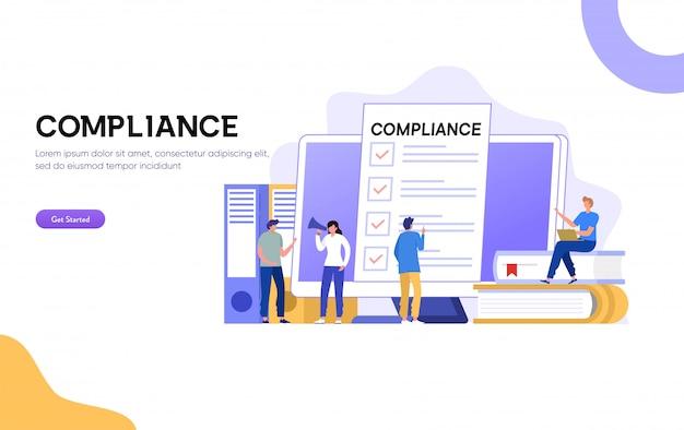 Illustration der compliance-regeln, geschäftsmann bietet an, geschäftsvertragskonzept zu unterzeichnen, leute diskutieren regulierung, können für, zielseite, vorlage, ui, web, homepage, poster, banner, flyer verwenden