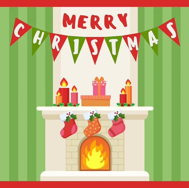 Illustration der dekoration und der socken der frohen weihnachten am kamin