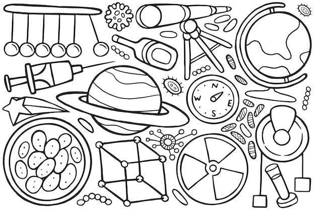 Illustration der doodle-wissenschaft im cartoon-stil