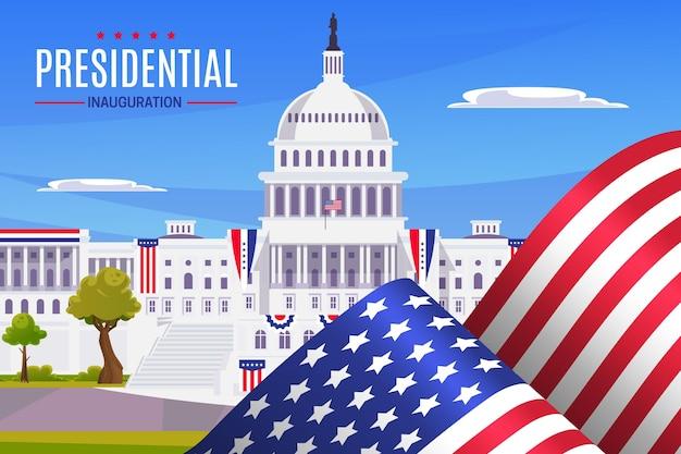 Illustration der einweihung des amerikanischen präsidenten mit weißem haus und flaggen