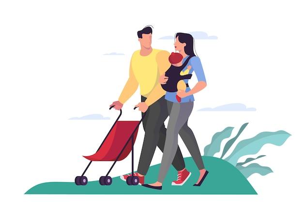 Illustration der familie, die durch den park geht. vater, mutter und ihre kinder verbringen das wochenende.
