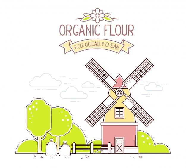 Illustration der farbe gelbe und rote windmühle und des grünen ländlichen gartens auf weißem hintergrund. gribusiness.