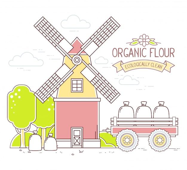 Illustration der farbe gelbe und rote windmühle und des grünen ländlichen waldes auf weißem hintergrund. gribusiness.