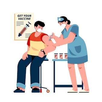 Illustration der flachen impfkampagne