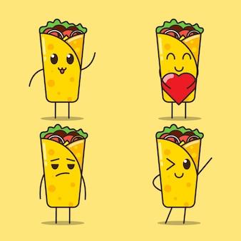 Illustration der flachen karikatur des niedlichen kebab-ausdrucks