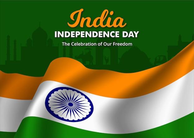 Illustration der flagge von indien winken, happy independence day banner, vector