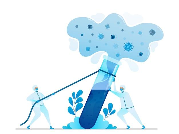 Illustration der forschung, um virusheilmittel und impfstoffe zu finden. Premium Vektoren