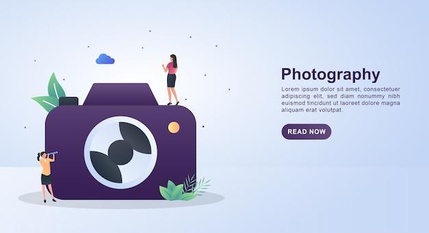 Illustration der fotografie mit einer großen kamera.