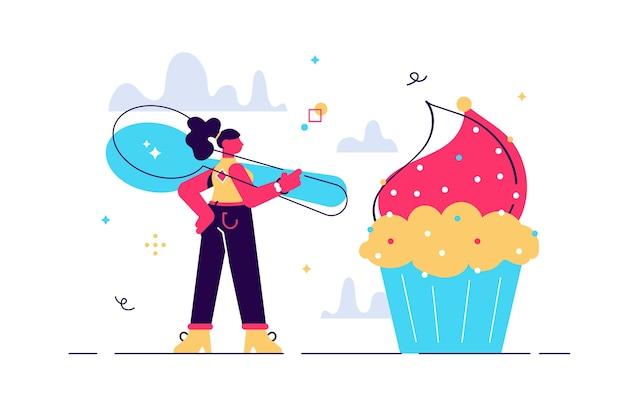 Illustration der frau, die cupcake mit großem löffel essen geht