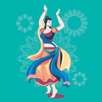 Illustration der frau, die garba-tanz für indien-festival spielt