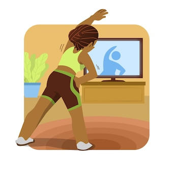 Illustration der frau, die sport vom fernsehen tut