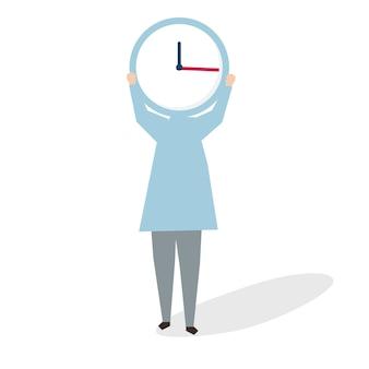 Illustration der Frau eine große Uhr halten