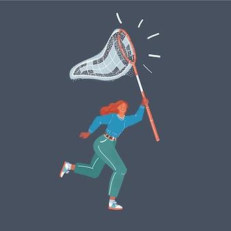 Illustration der frau mit schmetterlingsnetz bereit, etwas zu jagen. menschlicher charakter auf dunklem hintergrund.