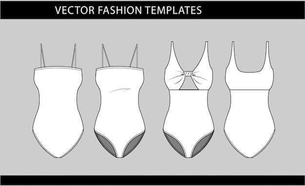 Illustration der frauen badeanzug vorder- und rückseite ansichten, mode flache skizze vorlage