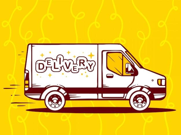 Illustration der freien und schnellen lieferung des lieferwagens zum kunden auf gelbem hintergrund.