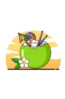 Illustration der frischen kokosnussgetränke