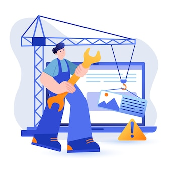 Illustration der gebäudeansicht der öko-energiefabrik im flachen stil