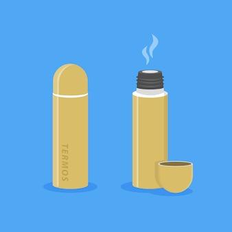 Illustration der geöffneten und geschlossenen thermoskanne mit heißem getränk isoliertes bild cartoon-stil
