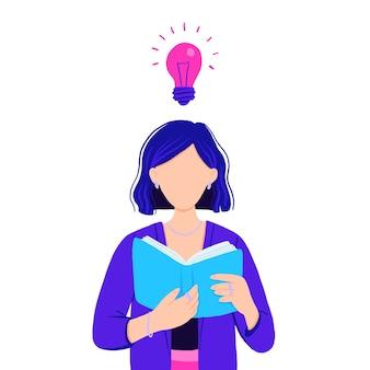 Illustration der geschäftsfrau, die ein motivationsbuch liest und eine idee hat.