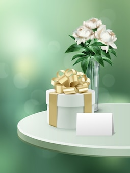 Illustration der geschenkbox mit papierkarte und blumen im glas auf weißem tisch