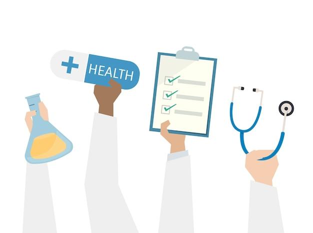 Illustration der gesundheit und der medizinischen behandlung